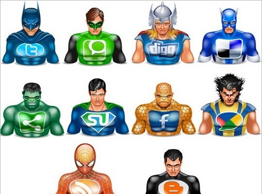 Halloween icons social superheros