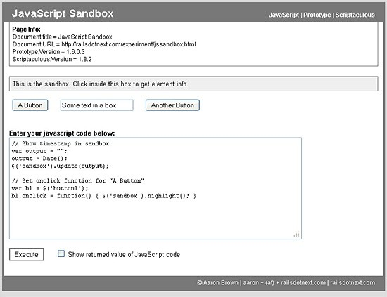javascript sandbox - website to check code snippets