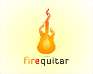 Fire Guitar Logo Design