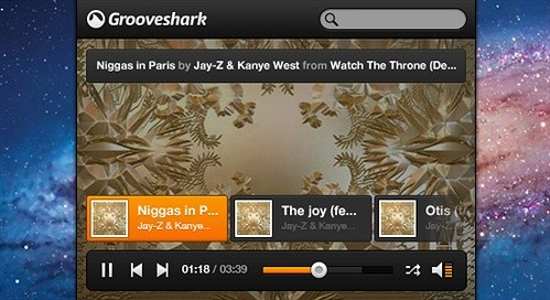 grooveshark mini music player psd web element