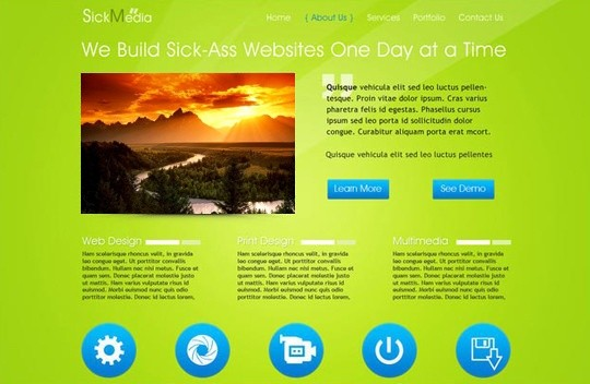 sickmedia - free psd website template