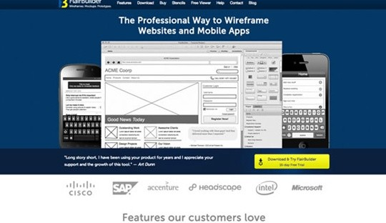 flairbuilder wireframe tool
