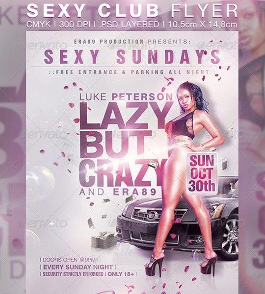 sexy sundays nightclub party flyer