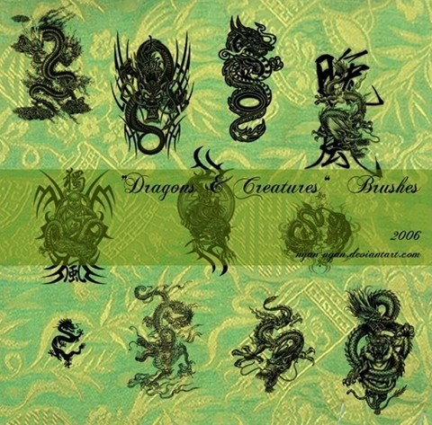 dragons and creatures brushes