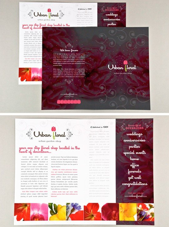 graphic floral shop brochure template