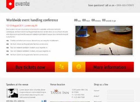evente landing page