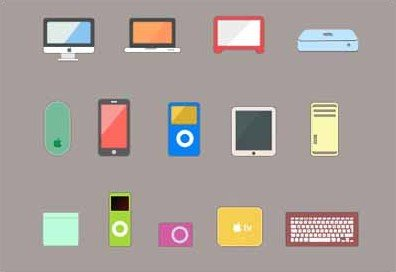 14 flat apple device product icons set
