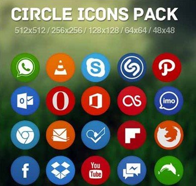 flat circle icons pack - martin knize