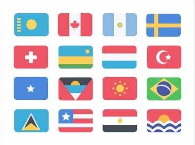 195 flat flag icons