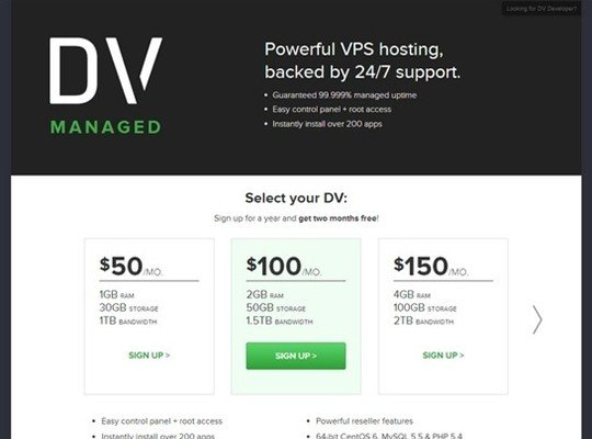 dv managed - pricing page design