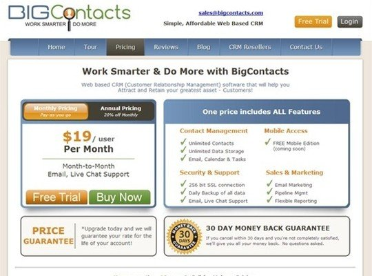 big contacts - pricing page design
