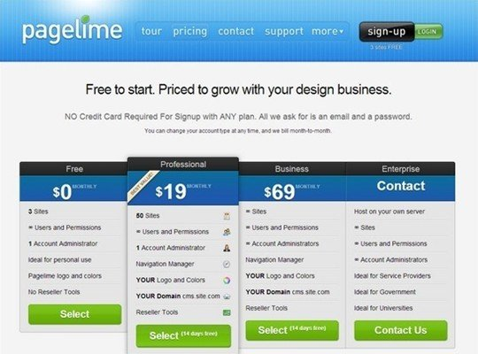 page lime - pricing page design