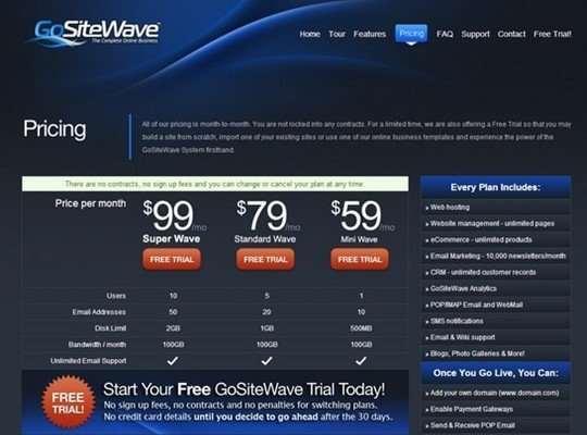 go site wave - pricing page design