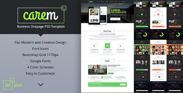 carem - corporate onepage psd template