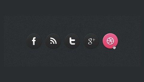 dark social media circle icons