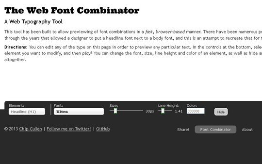the web font combinator | a web typography tool