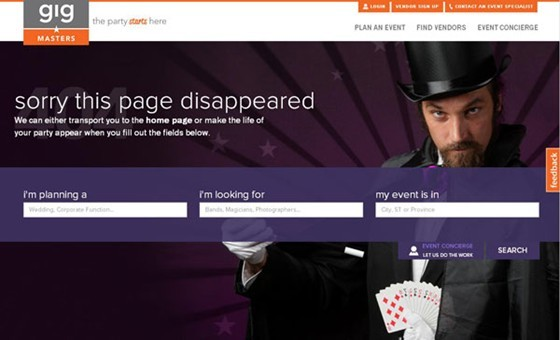 Gig Masters - 404 page designs