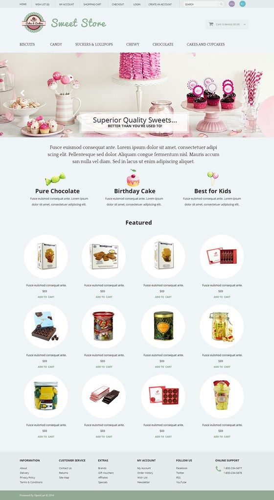 Sweets OpenCart Template