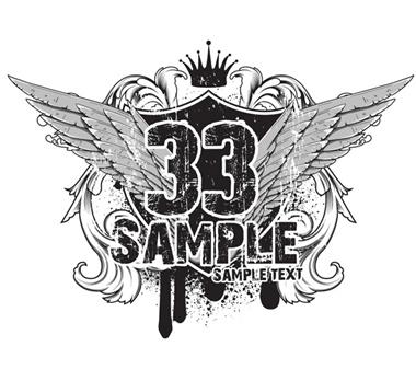 grunge,vector,vintage,crown,vectors,wings,tshirt,heraldry vector