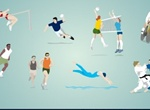 8 Olympic Sports Action Vectors Set