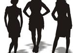 3 Businesswomen Silhouettes Vector Graphics