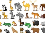 42 Cute Colorful Cartoon Animals Vector Set