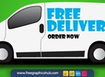 Free Delivery Order Now Van Vector