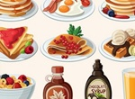 Cartoon Breakfast Food Items Vector Set