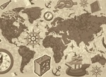 Old World Vector Map With Sea Faring Elements