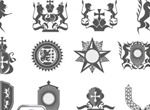 12 Intricate Heraldry Vector Elements Set