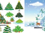 11 Christmas Tree Vector Designs Set