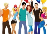 Trendy Young People Vector Illustration