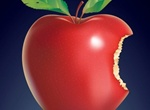 Juicy Red Bitten Apple With Leaves Vector Graphic