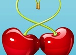 Juicy Red Cherry Love Hearts Illustration