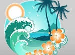 Tropical Island Vacation Logo Vector Graphic