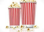 Tasty Movie Popcorn In Striped Containers Vector Graphic