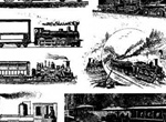 10 Historic Railroad Trains Vector Set