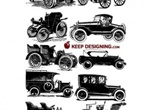 12 Intricately Drawn Nostalgic Autos Vector Collection