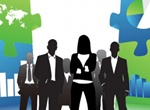 Strong Business People Puzzle Illustration