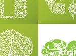 4 Green Eco Friendly Collage Vector Symbols