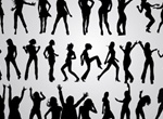 46 Energetic Girl Silhouette Poses Vector Set