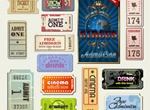 14 Vintage Cinema Tickets Vector Set