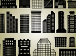 High Rise & Industrial Silhouette Buildings Set