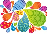Colorful Patterned Bubble Shapes Vector