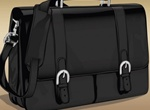 Realistic Leather Briefcase Vector Bag