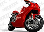 Realistic Red Motorcycle Vector Graphic