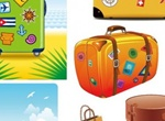 Suitcase Travel Bag Theme Vector Graphics