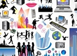 Our Modern World Silhouettes Vector Graphics