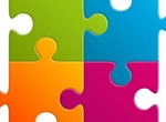 4 Colorful Jigsaw Puzzle Pieces Vector Set