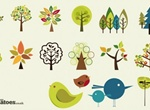 Sweet Birds And Trees Abstract Vector Set